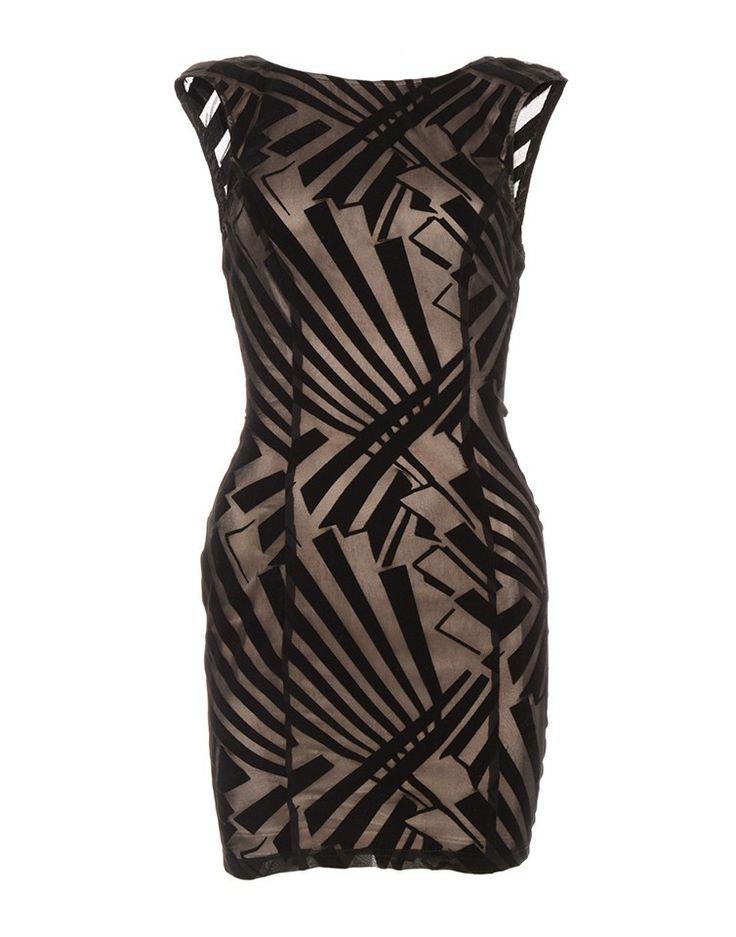 SKYE LONDON | Low Cut Back Dress with Faux Velvet - - Style36