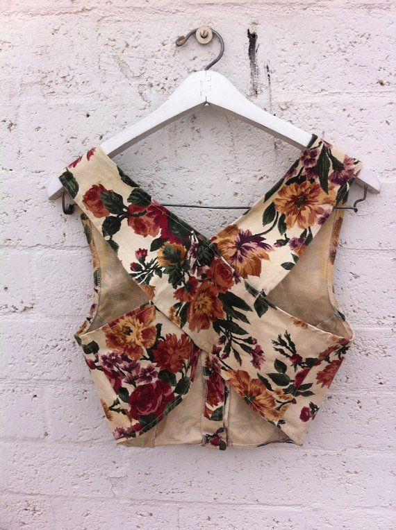 Denim Floral Crop Top by StillStuntinVintage on Etsy