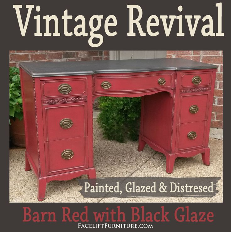 Vintage vanity desks, with all their classic charm, provide a fantastic opportunity to upstyle a weary, old piece with the new look paint, glaze, and distressing provide. This desk is refinished in Espresso & Barn Red, with Black Glaze. It is lightly distressed, and has the original pulls. Find more inspiration in our Desks & …