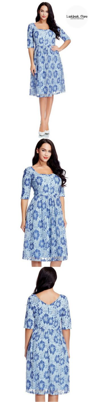 Plus Style // Reveal the most beautiful you as you slip into this plus size light blue floral-print lace dress.