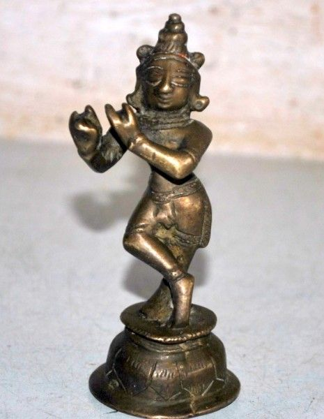1890's Old Antique India Hand Carved Brass Hindu Lord Krishna Standing Figurine
