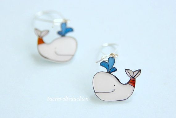White whales dangle earrings animal jewelry by lacravatteduchien