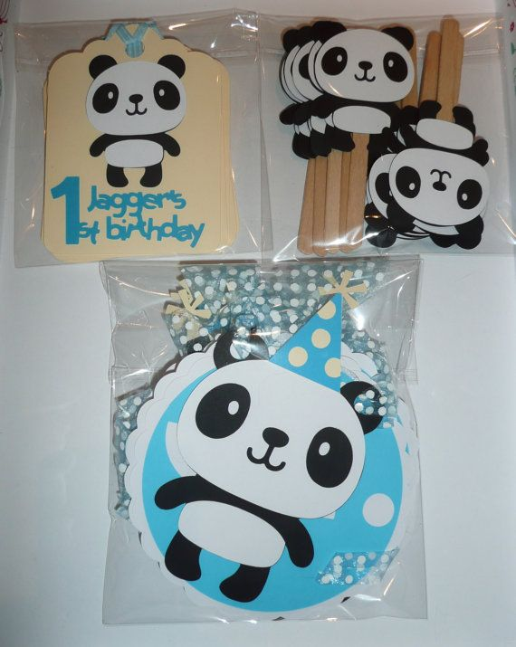 Panda party pack, personalised decorations for birthday party, baby shower or christening with banner, tags and cupcake toppers.