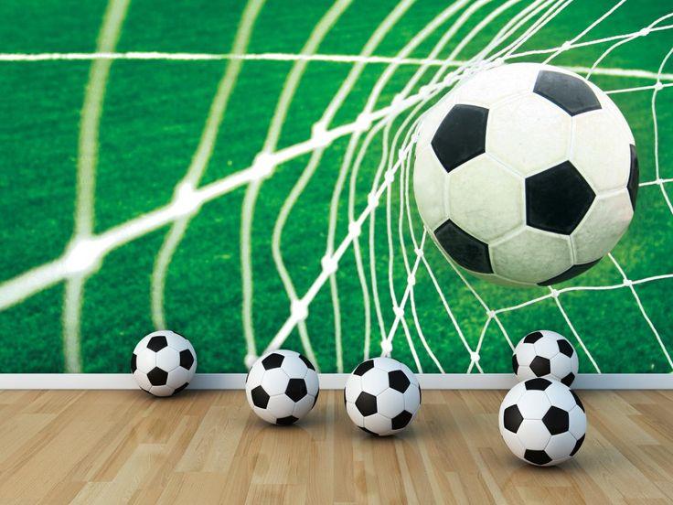 Voetbalbehang GOAL Afmeting: 368 cm breed x 254 cm hoog Materiaal: speciaal papier Lijm: wordt meegeleverd Delen: 4 stuks Prijs: 69,95