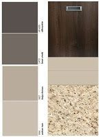 Study this before changing ANYTHING in the kitchen | dark stained cabinets, cool, light back splash, warm brown and cream granite with cool greige and gray wall colors | kitchen colors, warm and cool tones, working with granite, back splash and cabinet colors | via Carmen's Corner