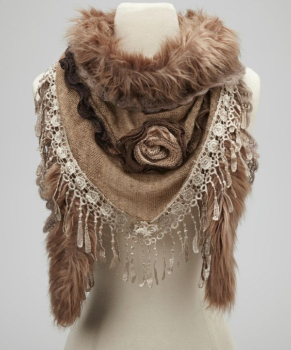 Take a look at this Jeanne Simmons Accessories Taupe Embellished Faux Fur Scarf on zulily today!