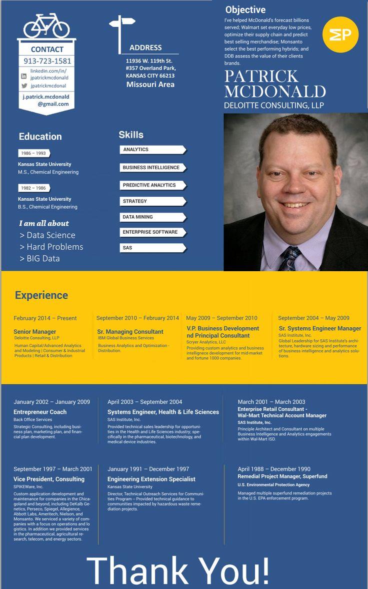 #Infographic #resume Patrick McDonald - Data Scientist solving Hard Big Data Problems