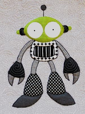 Don't Look Now: awesome applique quilts [I have this pattern, Robot Riot] fuuuuuun!