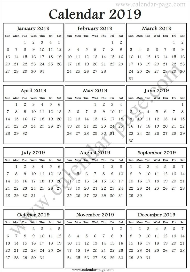 one page year calendar 2019