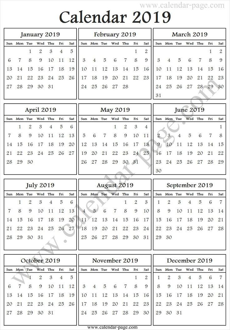 Free 2019 One Page Calendar | 2019 Calendar Template ...