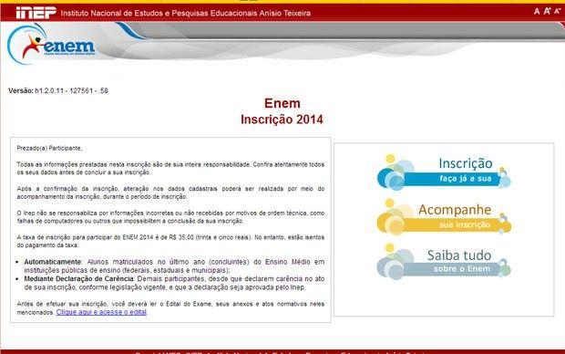 INSCRIÇÕES PARA O ENEM 2014 SÃO ABERTAS  Os interessados podem se candidatar no site do Instituto Nacional de Estudos e Pesquisas Educacionais Anísio Teixeira (Inep), até o dia 23. Confira: http://enem.vc/inscricoes-enem-2014/  #enem #enem2014 #inscricoesenem
