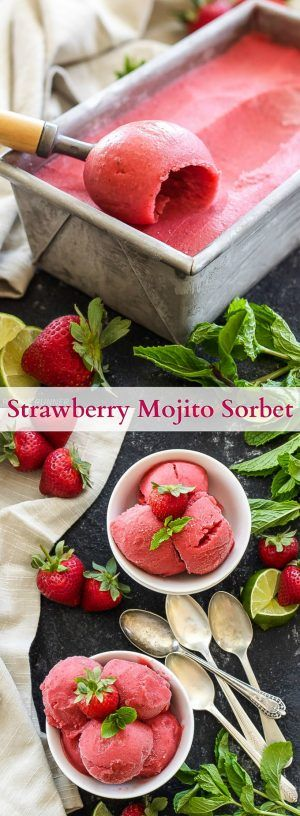 Strawberry Mojito Sorbet | All the flavors of a mojito are packed into this sweet, refreshing, boozy sorbet!
