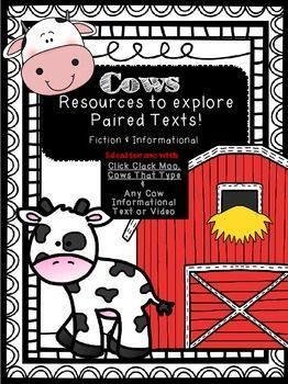 Click Clack Moo, Cows That Type comprehension activities and an informational research companion to learn about cows! This set is great if you're looking to used paired texts in your classroom during a farm theme study! Farm activities | Farm theme activities | Elementary Reading | Elementary Writing| Research Companion