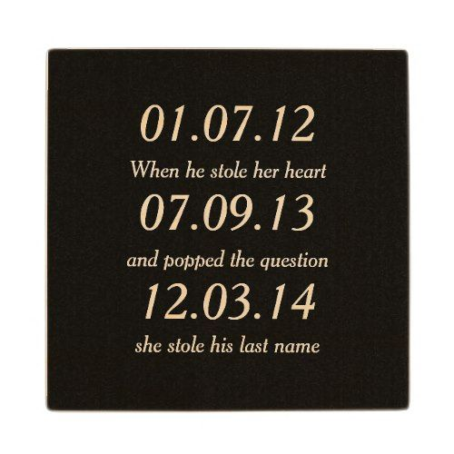 Romantic Moments Personalized Dates Custom Wedding Wooden Coaster