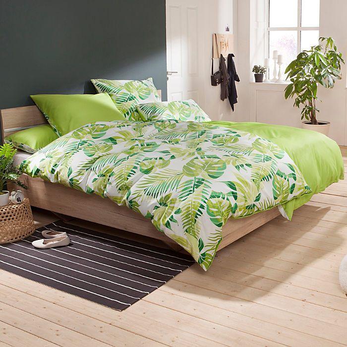 Erwin Müller Mako-Satin Wendebettwäsche mit erfrischend grünem Blättermuster! Wiegt Dich sanft in natürlichen Schlaf.