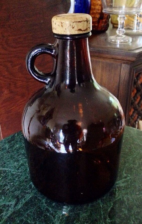 Reserved Antique Vintage Amber Brown Glass 9 Quot Handled Jug