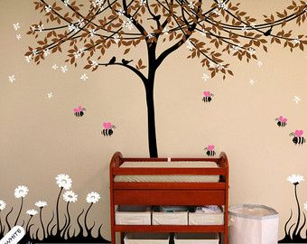 White Tree Wall Decal Huge Wall Mural Stickers Tree wall decal