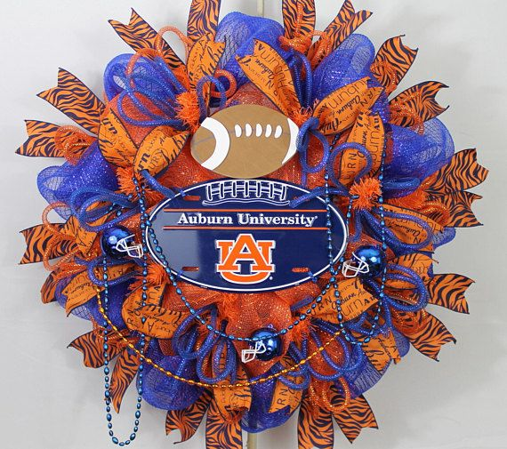 Auburn Wreath, Auburn Tigers, Auburn Fan Wreath, Auburn Football,  Orange Blue Wreath, UA Tiger Wreath, Auburn Sports Wreath, Auburn Decor
