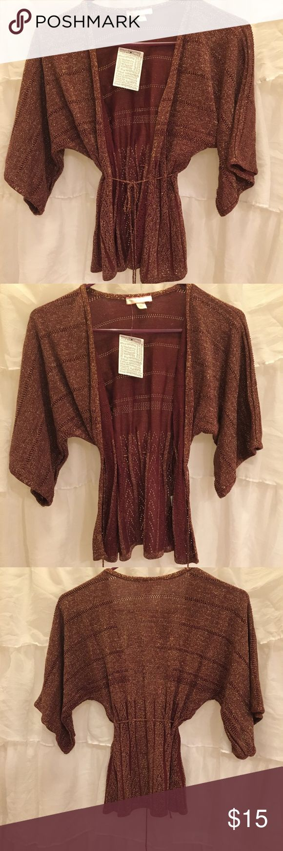 Urban Outfitters Lux Burgundy&Gold Cardigan Urban Outfitters Lux Burgundy&Gold Cardigan. Knit  with beautiful detailing. Ties in front. Wide sleeve. New with tags! Lux Sweaters Cardigans