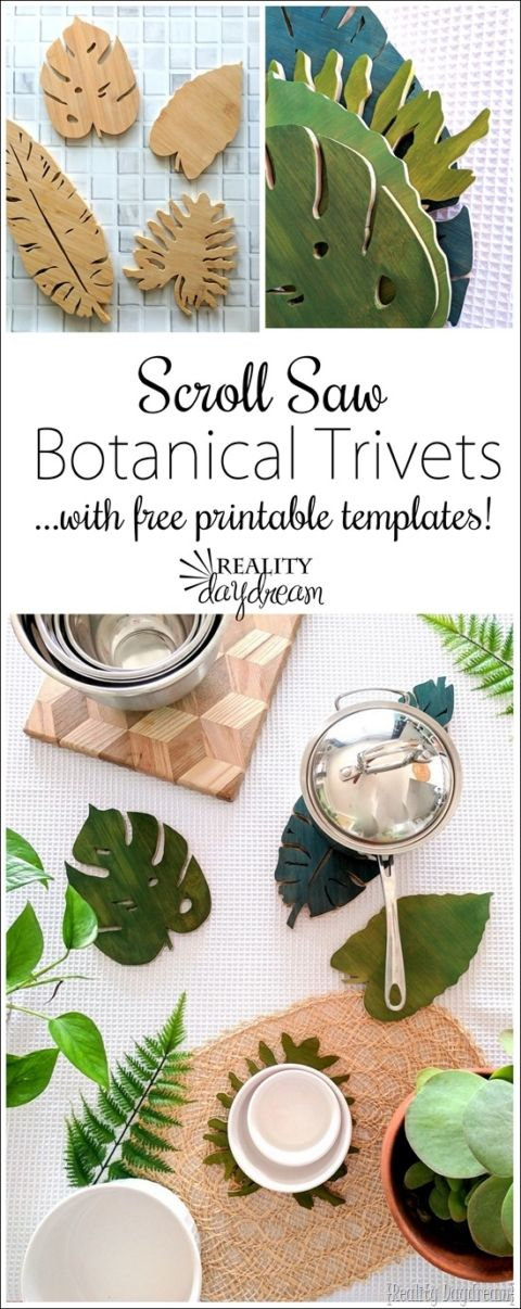 Make these Botanical Leaf Trivets out of an existing cutting board... using a scroll saw! {Reality Daydream}