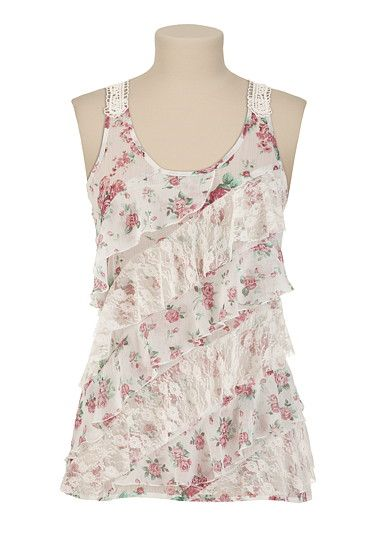 Rose and Lace Ruffle Tank $26.00