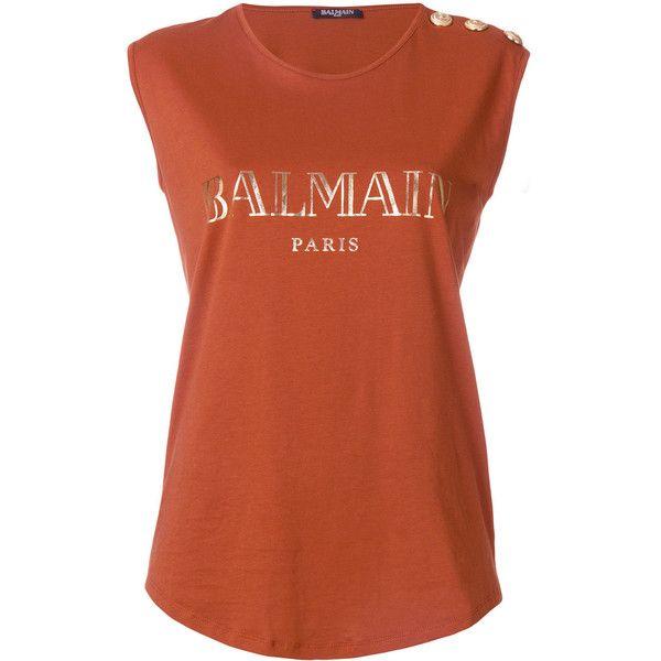 Balmain Logo Print Cotton Top ($235) ❤ liked on Polyvore featuring tops, orange, orange sleeveless top, balmain, balmain top, sleeveless tops and no sleeve tops