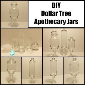 Ria's World of Ideas: DIY Dollar Tree Apothecary Jars - replace base and lid with metal! (www.ChefBrandy.com)