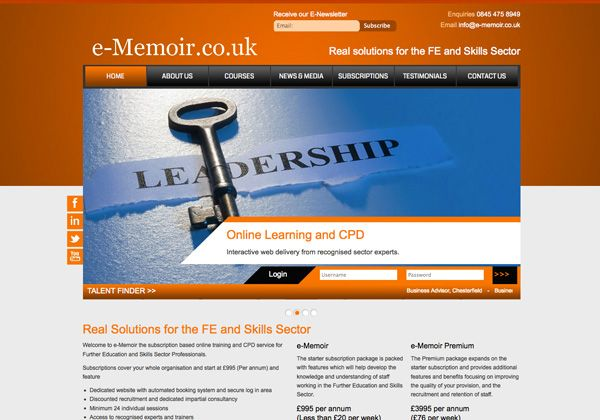 e-Memoir Online Training Web Design Sheffield