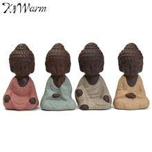 Kiwarm 1 шт. фигурка монаха статуя Будды татхагата Индии Йога Мандала скульптуры керамическая чайная церемония украшения подарок Home Decor(China)