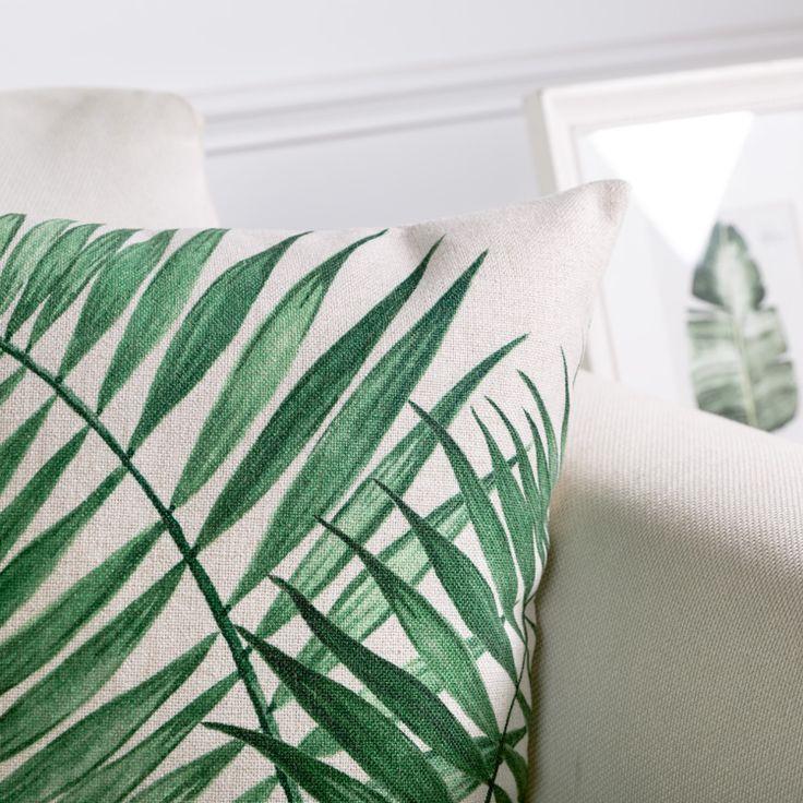 Оптовая Зеленые Листья Наволочка Чехлы Тропические растения Home Decor Бросить Подушки Декоративные Наволочка Pillowsham
