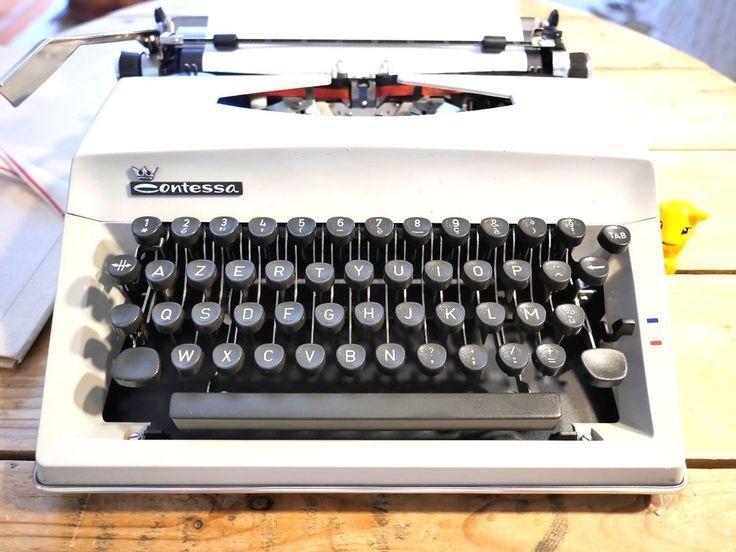 machine à écrire TRIUMPH ADLER CONTESSA Grise Vintage Révisée + ruban NEUF #TriumphAdler