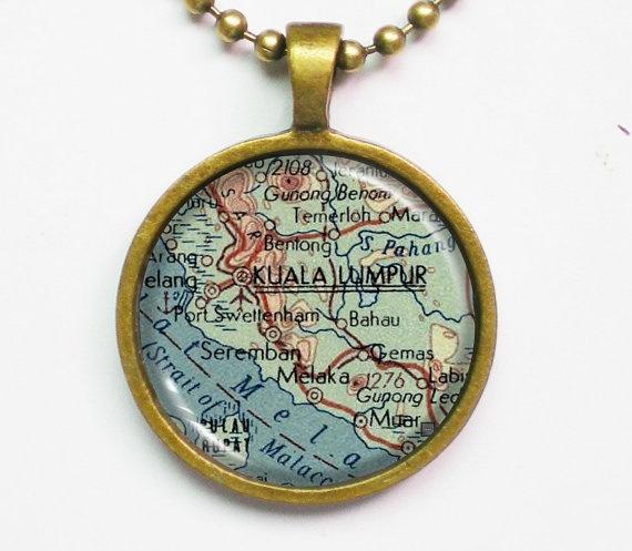 Kuala Lumpur Custom Map Necklace Antique Map of by FantasticDIY,