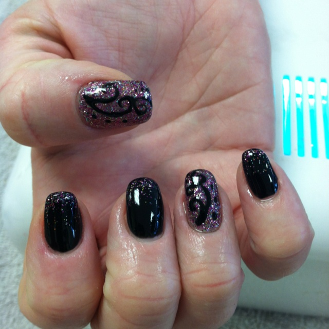 I like the two purple nails for sure. --- Shellac design... Done at Ava Nails Wake Forest NC by Jennie