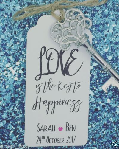 bottle opener wedding favour with personalised tags the key to happiness wedding favour gift. Black Bedroom Furniture Sets. Home Design Ideas