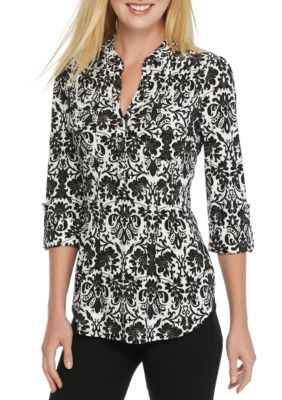 New Directions Women's Hi-Low Three-Quarter Roll Sleeve Printed Blouse - Black-Whit - Xl