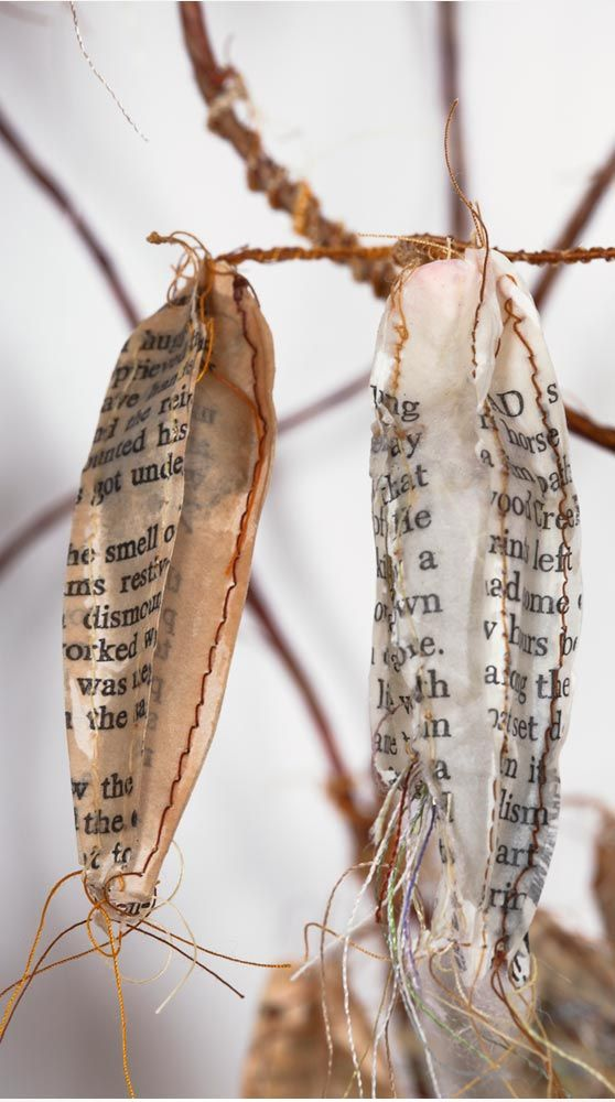 "Mixed Media Art - sculpture made from recycled book pages, thread, beeswax, wire, mull & cotton batting // ""Beginnings and Endings,"" Lisa Kokin"