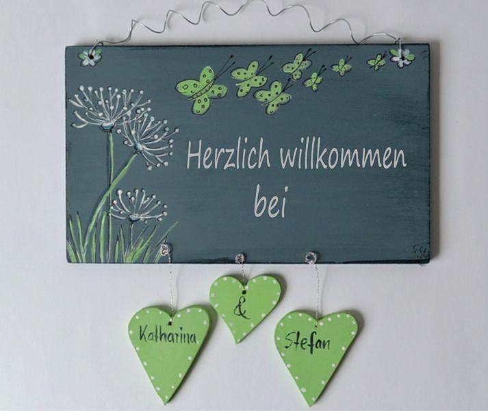 Türschild Schmetterlinge  Namensschild Shabby von Gista  auf DaWanda.com