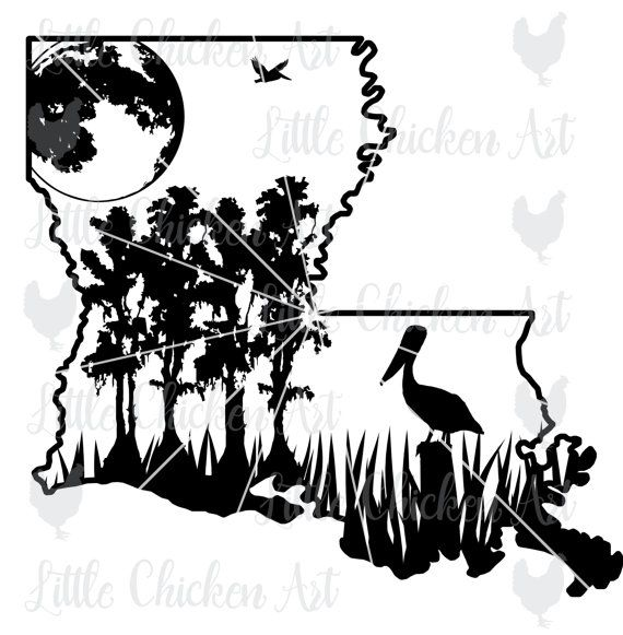 Louisiana Swamp Scene cut file / clip art by LittleChickenArt
