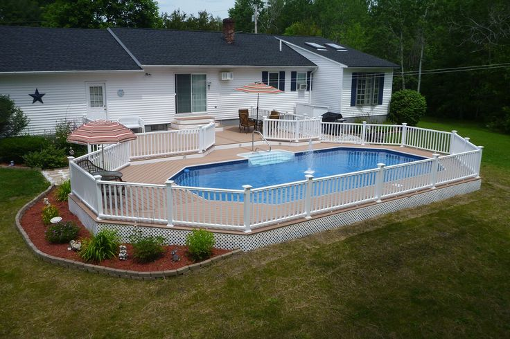 Radiant's Keystone Semi-Inground pool is the perfect centerpiece of this backyard escape.