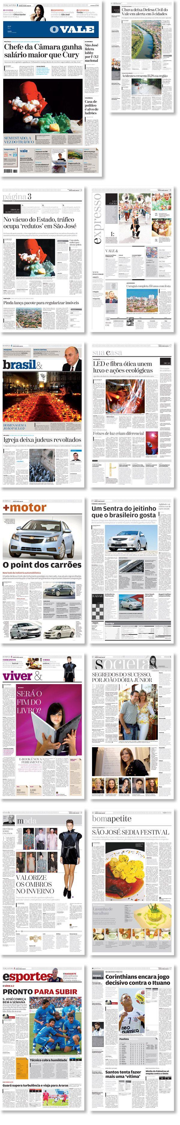 Rediseño del periódico O vale, São José dos Campos, Brasil. Trabajo realizado para Estudi Cases.