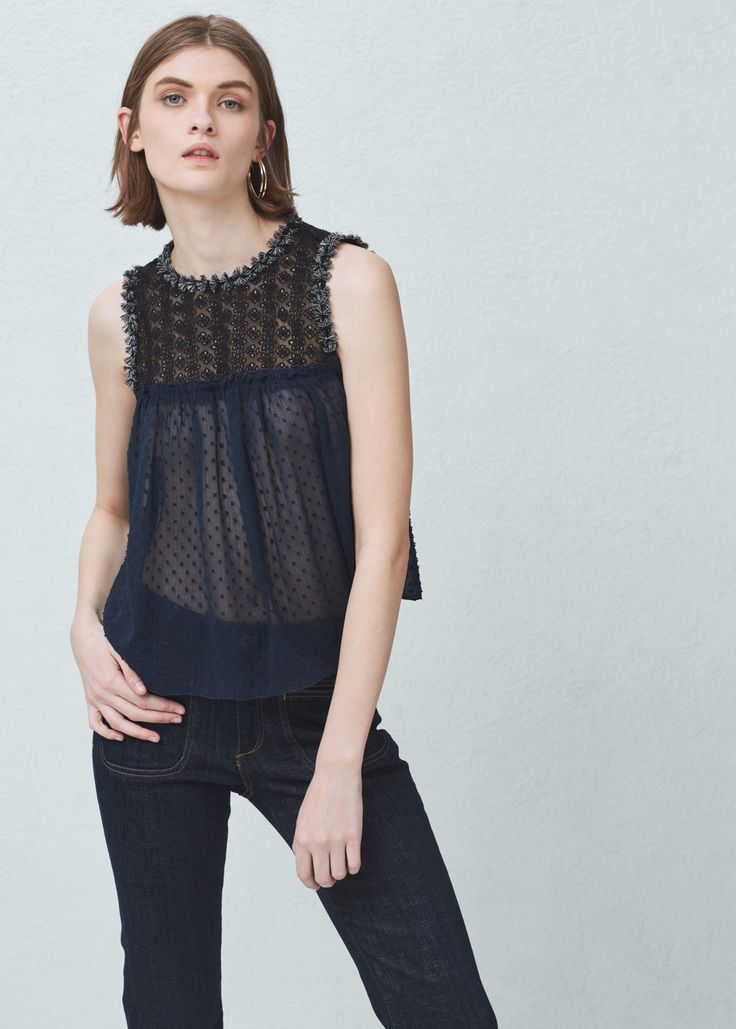 Embroidered panel top - Shirts for Women   MANGO USA 58%OFF
