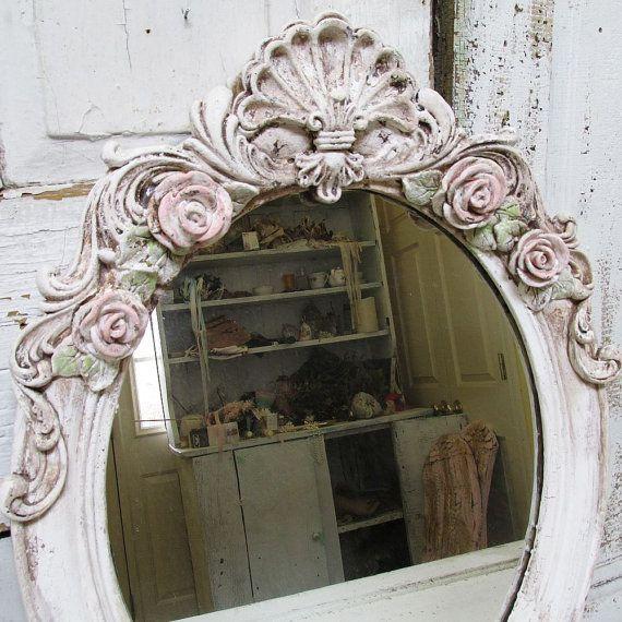 Großer ovaler Spiegel Wand hängen schäbige von AnitaSperoDesign