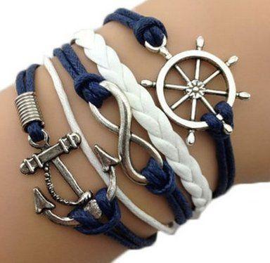 CargoMix® Infinity Armband retro stricken Ruder Anker Armband Blau und Weiß Unendlichkeit Lady Retro Knit Kreuz Liebe   Rudder Anchor   Liebeszauber Suede Wrap Damen Armband