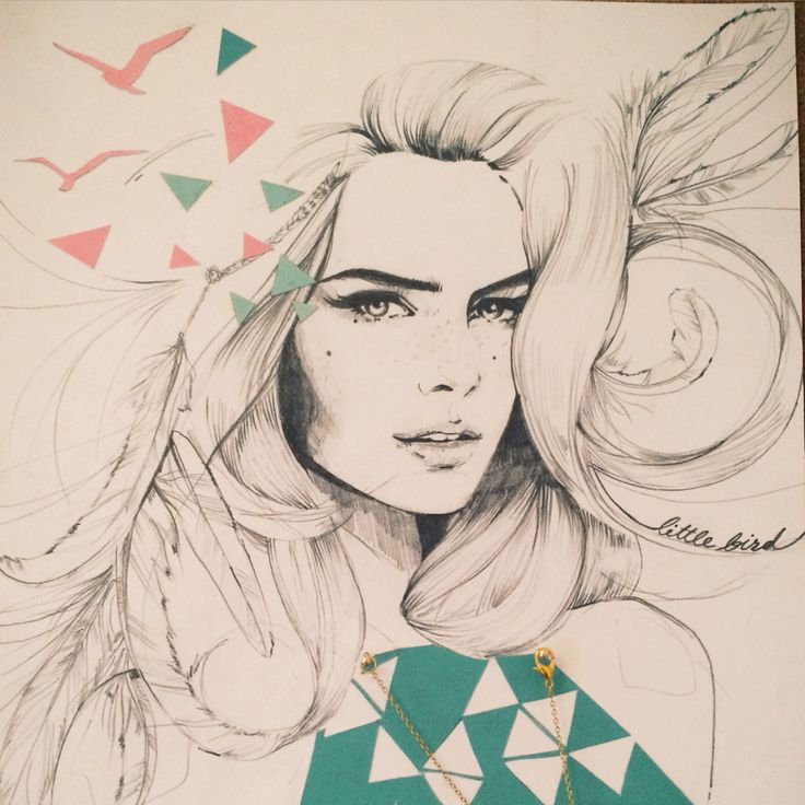 Lauren Bishop Illustration - fashion illustration, girl with feathers and birds x
