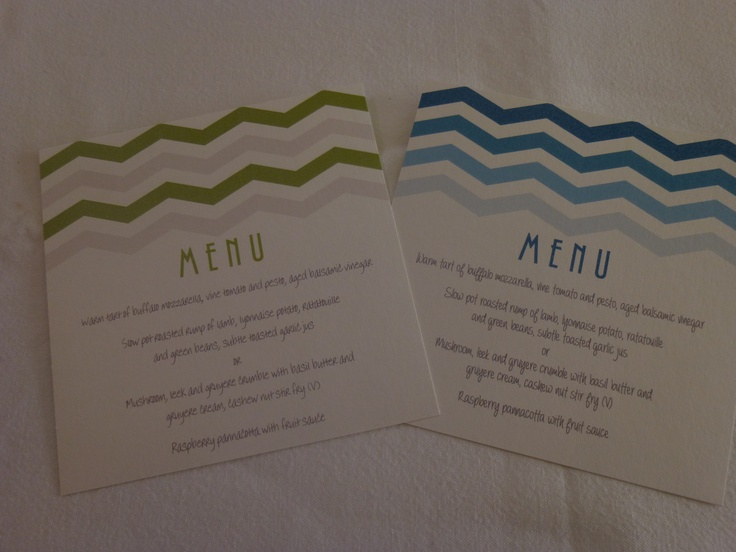 Menu cards for wedding or other special occasion #chevron #ombre