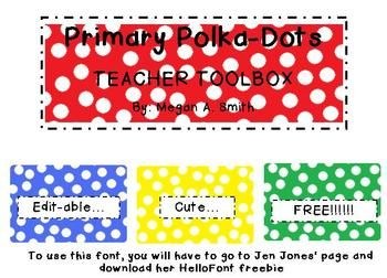 Primary Polka Dot Toolbox Template FREE - Megan Smith - TeachersPayTeachers.com