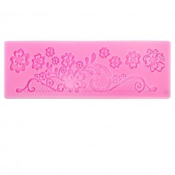 MagiDeal 1 X Moldes Arte Del Azúcar De Encaje Pastel De Fondant De Silicona Torta Estera Textura De Color Rosa