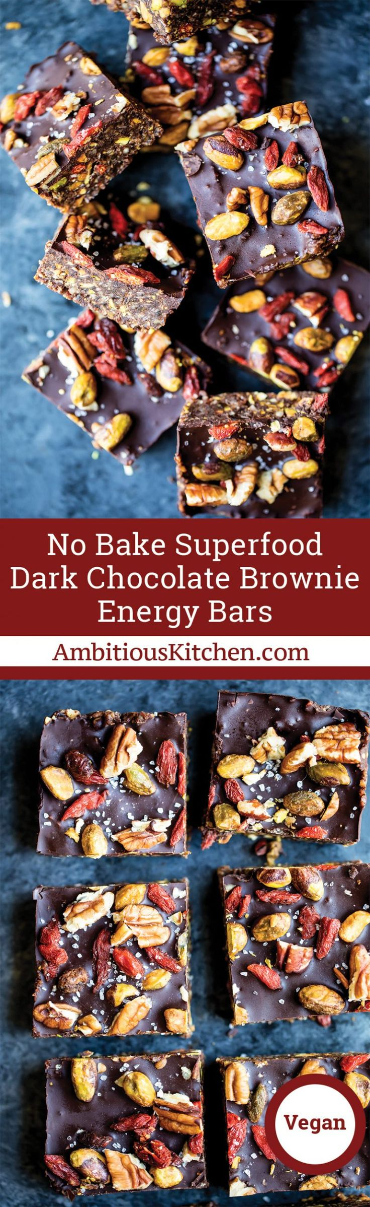 No bake superfood brownie energy bars packed with pistachios, pecans, walnuts, chia seeds, coconut and dried fruit! The perfect healthy snack!