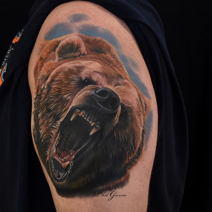 """Phil Garcia @philgarcia805 tHavent tattooed  a grizzly in a while... Tattooed this on my nephew. Thanks Bear!  @eternalink @inkmachines_christian @ohanaorganics @kwadron…"""""""