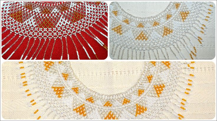 Collar artesanal Mexicano con material en Chaquira. Arte Huichol. $ 48.00 womens necklace handmade of glass seed beads in gold and white color. Huichol art. $ 48